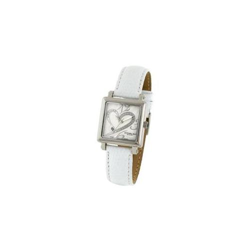 Stuhrling Original 253. 1115P2 Ladies Courtly Diamond Watch on a White Strap and Silver Dial