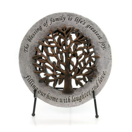Home & Garden TREE OF LIFE GARDEN STONE ON EASEL Family Blessing 11070