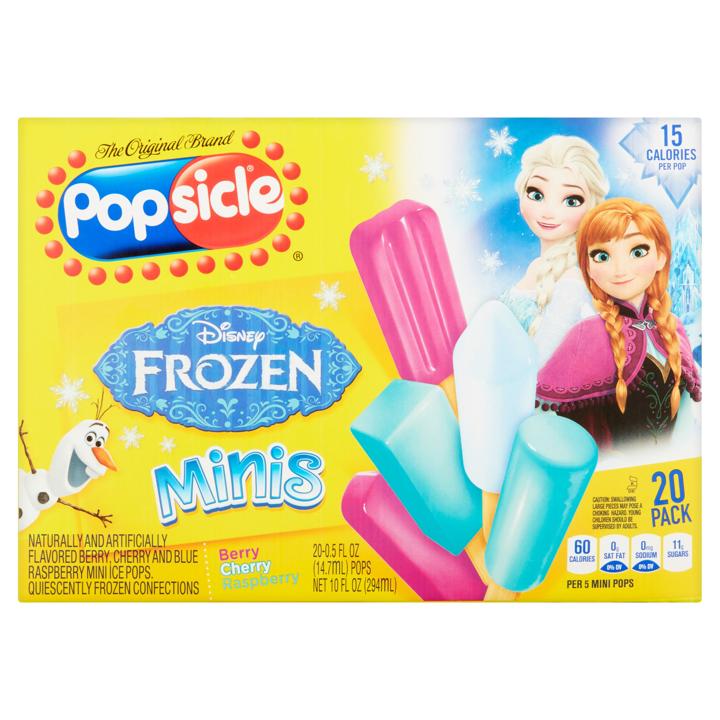 Popsicle Frozen Minis Assorted Flavors .5 oz Ice Pops, 20 ct