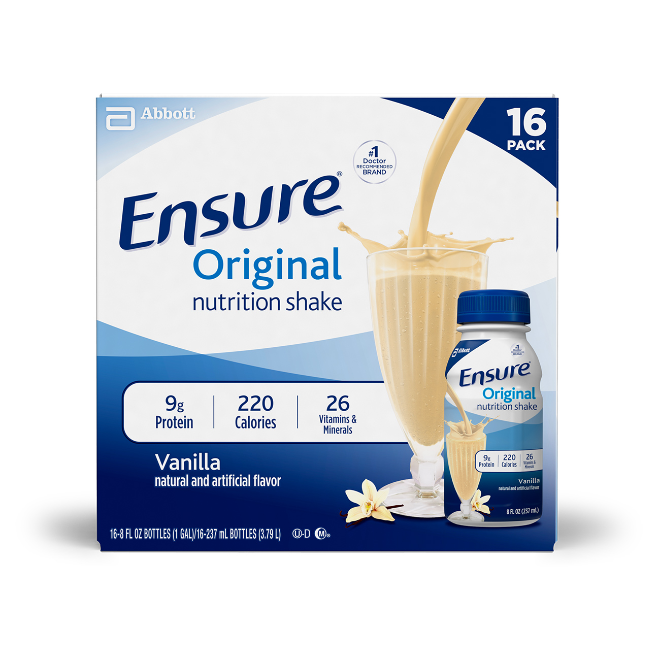Ensure Original Nutrition Shake with 9 grams of protein, Meal Replacement Shakes, Vanilla, 8 fl oz, 16 Count