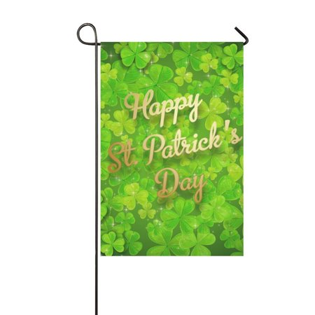 MYPOP Green Clover with St Patricks Day Garden Flag Banner 12 x 18 inch