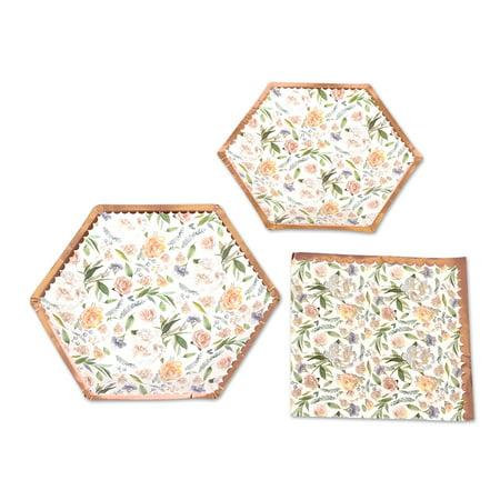 Vintage Tea Party (Koyal Wholesale Vintage Floral Tea Party Set, Peach Peonies, 48 Piece Set 9-Inch, 7-Inch Plates, 50-Pack)