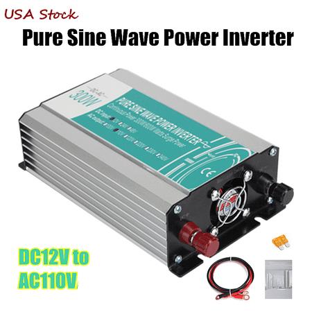 Solar Power Inverter 300W DC 12V To AC 110V Pure Sine Wave