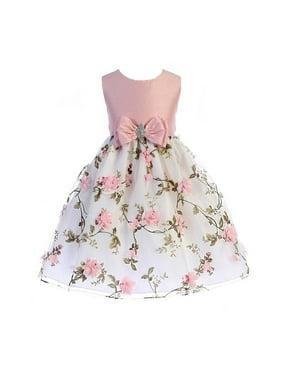 Crayon Kids Little Girls Pink Floral Print Easter Flower Girl Dress