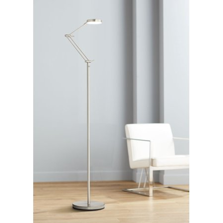 360 Lighting Xenos Satin Nickel Adjustable LED Floor Lamp Satin Nickel Floor