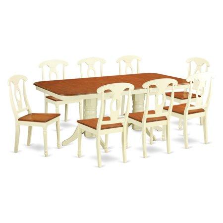 East West Furniture Kenley 9 Piece Rectangular Trestle Dining Table Set