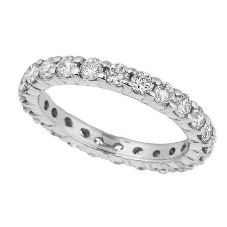 Harry Chad Enterprises 13361 2 CT Round Brilliant Diamond Prong Setting Eternity Band - Gold White Brilliant Diamond Setting 4 Prong