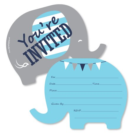 Blue Elephant - Shaped Fill-In Invitations - Boy Baby Shower or Birthday Party Invitation Cards with Envelopes - 12 Ct