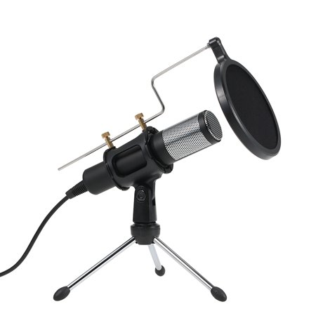 Professional Condenser Microphone USB Plug and Play Home Studio Podcast Vocal Recording Microphones with Mini MIC Stand Dual-layer Acousticfilter for Windows for