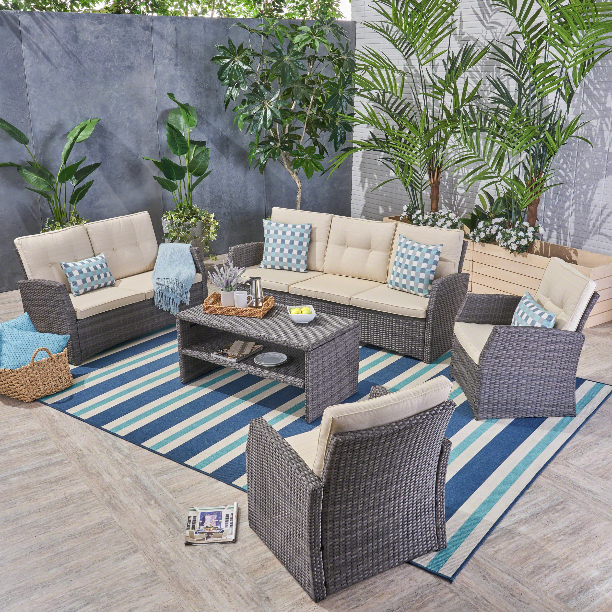 Aydin Outdoor 5 Piece 7-Seater Wicker Chat Set with Cushions, Gray, Beige