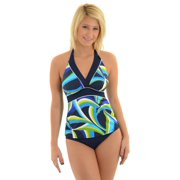 Womens Miraclesuit Swimwear Tankini Swim Top and Bikini Blue Print 2 Piece Set