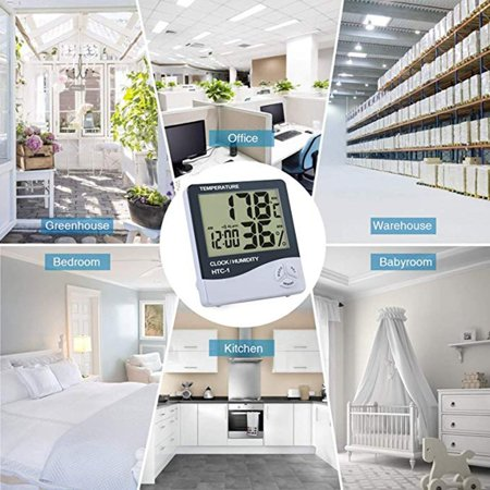 HTC-1 large screen home indoor electronic thermometer hygrometer alarm clock - image 4 de 9