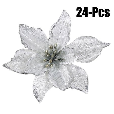 24Pcs 5.91'' Christmas Artificial Flowers, Justdolife Glitter Artificial Fake Flowers Wedding Christmas Home Xmas Tree Wreaths Party Decoration Ornaments Accessories Supplies (Silver) for $<!---->