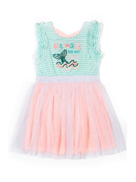 "Little Lass Girls 4-6X Short Sleeve ""Mermaids Have More Fun"" Sparkle Tulle Tutu Dress"