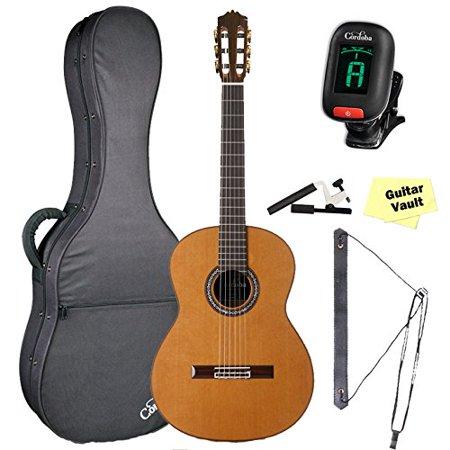 Cordoba C10 CD/IN Acoustic Nylon String Classical Guitar Bundle, Natural