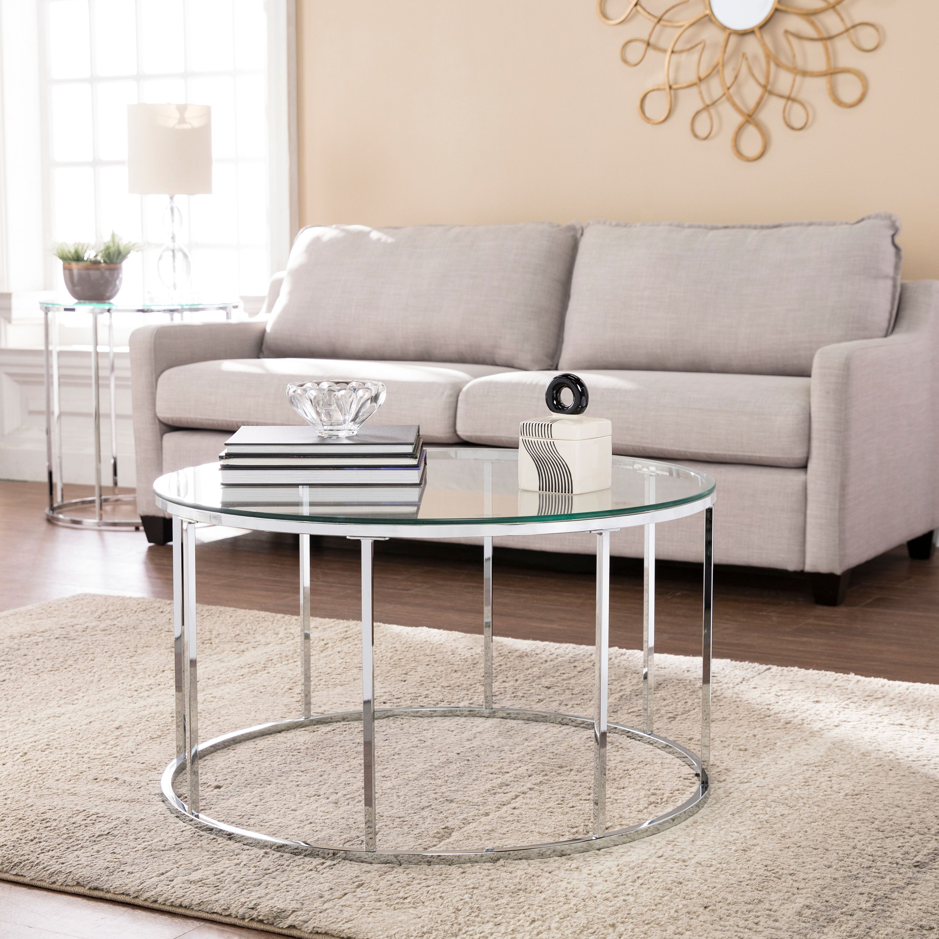 Southern Enterprises Crotti Round Cocktail Table w/ Glass Top, Glam Style, Chrome