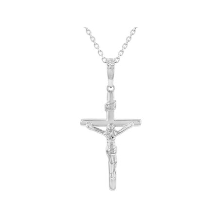 - 925 Sterling Silver Traditional Cross Crucifix Jesus Christ Pendant Necklace 18
