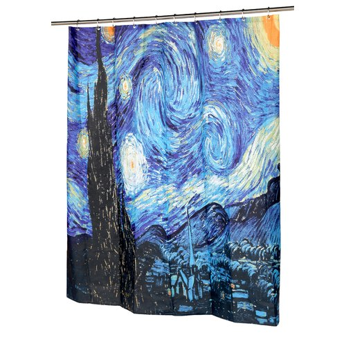 """The Starry Night"" Museum Collection 100% Polyester Fabric Shower Curtain, Size 70""x72"""