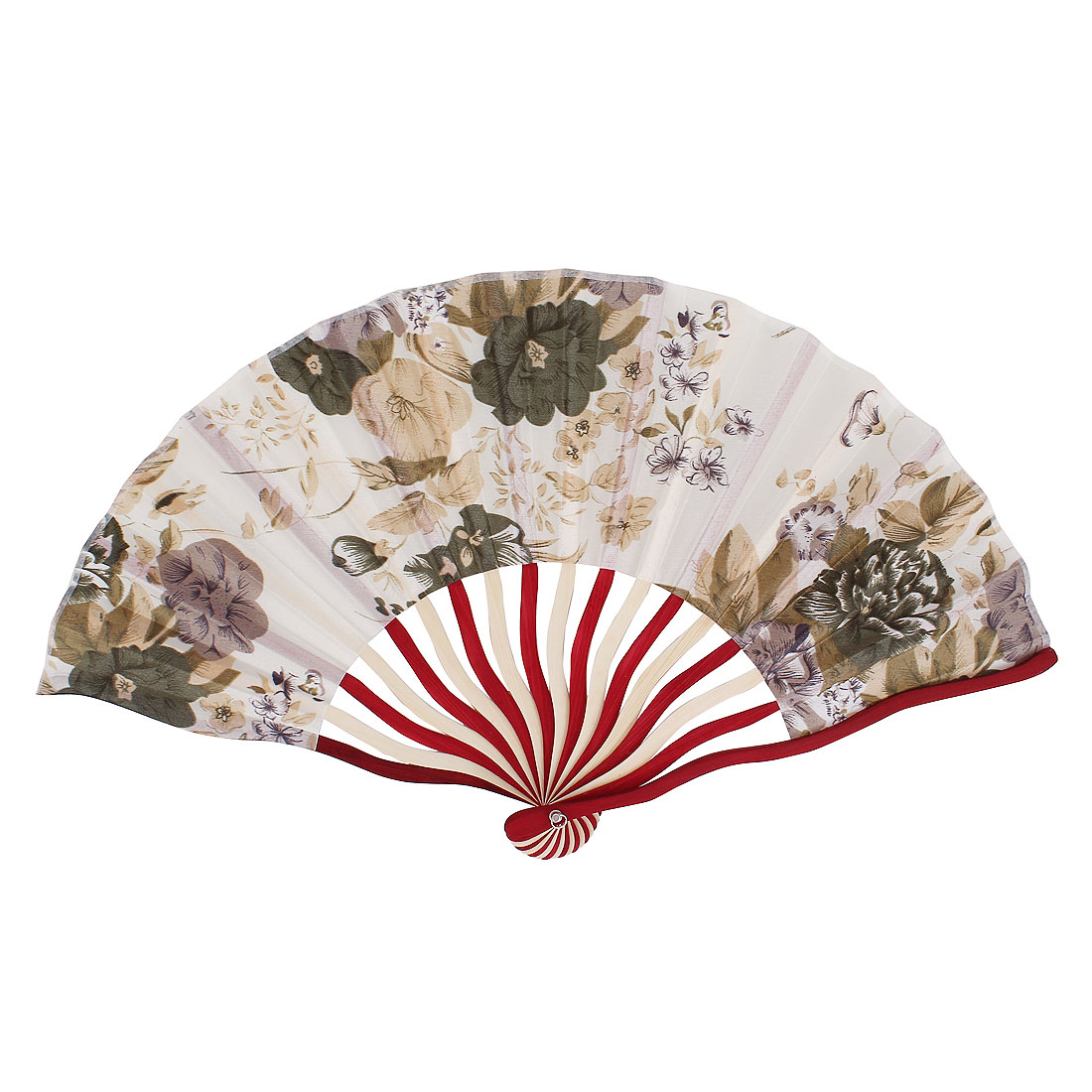 Peony Flower Print Ivory Red Wood Frame Beige Fabric Cloth Collapsible Hand Fan