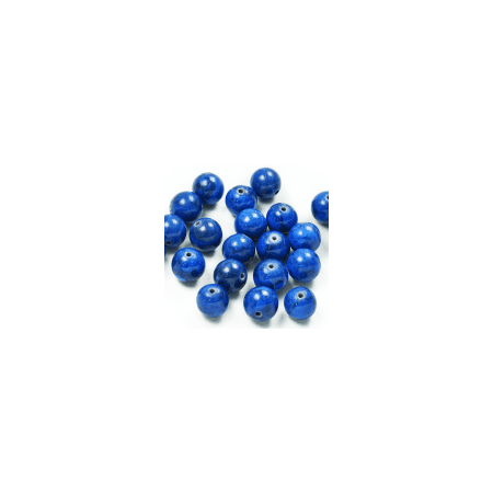 Expo Int'l Round Fossil Dyed Lapis Beads - 10mm - 8
