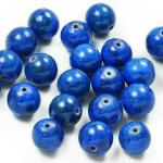 - Expo Int'l Round Fossil Dyed Lapis Beads - 10mm - 8