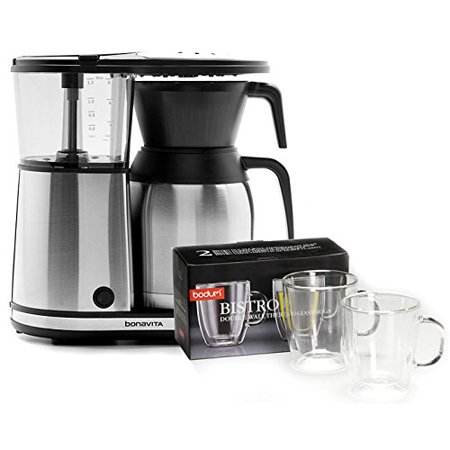 Bonavita BV1900TS 8 Cup Coffee Maker With Shatterproof Steel Lined Thermal Carafe & Bodum Bistro ...