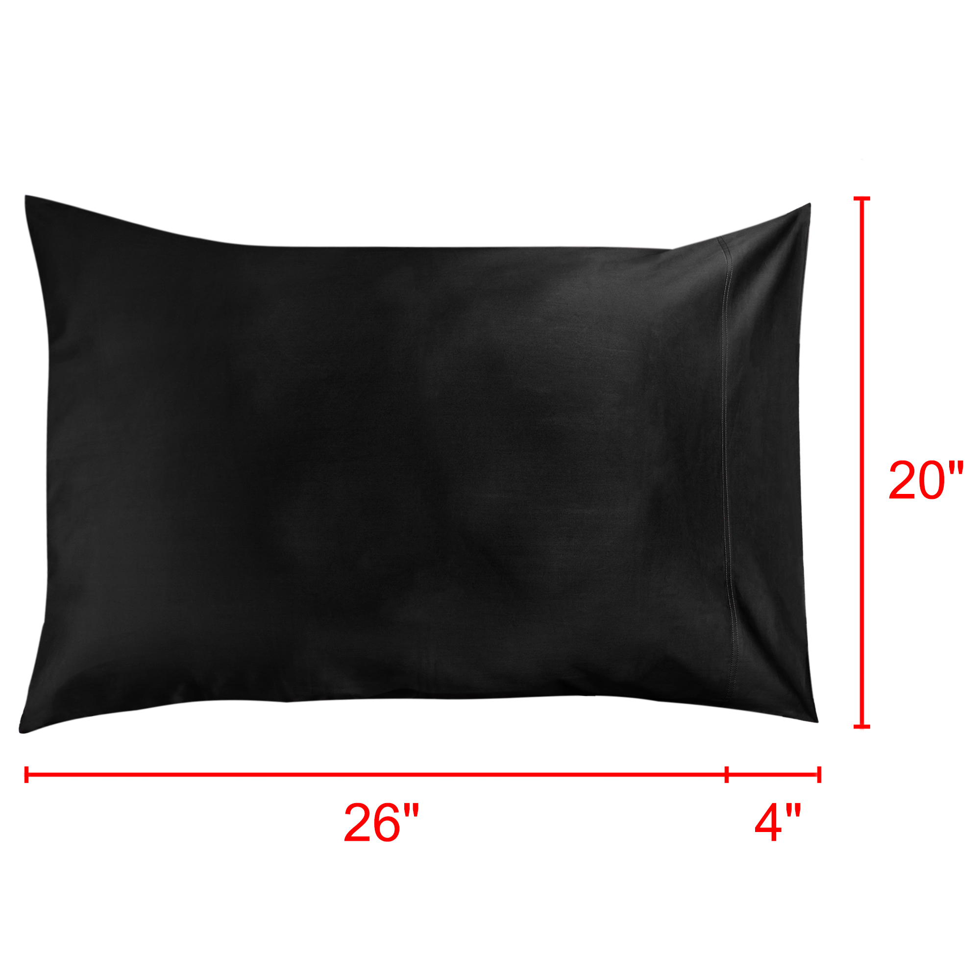 """Pillow Cases 100% Long Staple Combed Cotton 300 TC, Black 20"""" x 30"""", Set of 2 - image 3 de 7"""