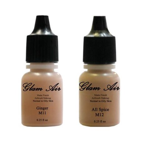 (2)Two Glam Air Airbrush Makeup Foundations M11 Ginger & M12 All Spice for Flawless Looking Skin Matte Finish For Normal to Oily Skin (Water Based)0.25oz