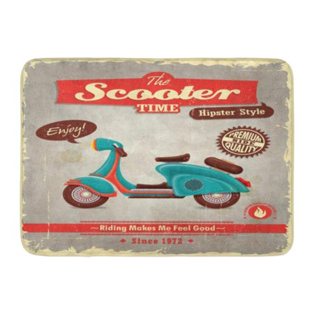GODPOK Motorcycle Retro Vintage Scooter Design Hipster Cycle Rug Doormat Bath Mat 23.6x15.7 inch