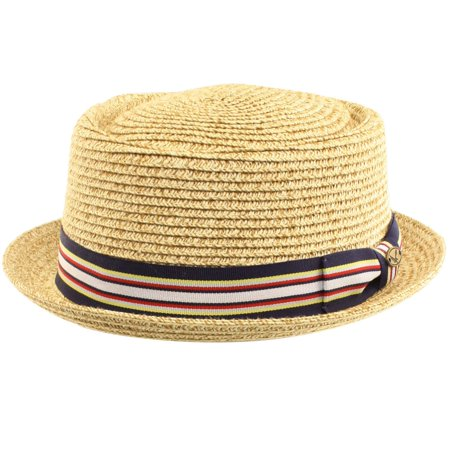 Men's Summer Lightweight Straw Pork Pie Derby Fedora Upturn Brim Hat w/ Ribbon - Derby Hats For Men Cheap