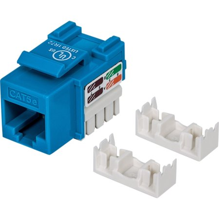 Intellinet 210546 Intellinet Cat5e UTP Punch-down Keystone Jack, Blue - Plastic housing for use with 22 to 26 AWG stranded and solid wire 1 Port Cat5e Surface Jack