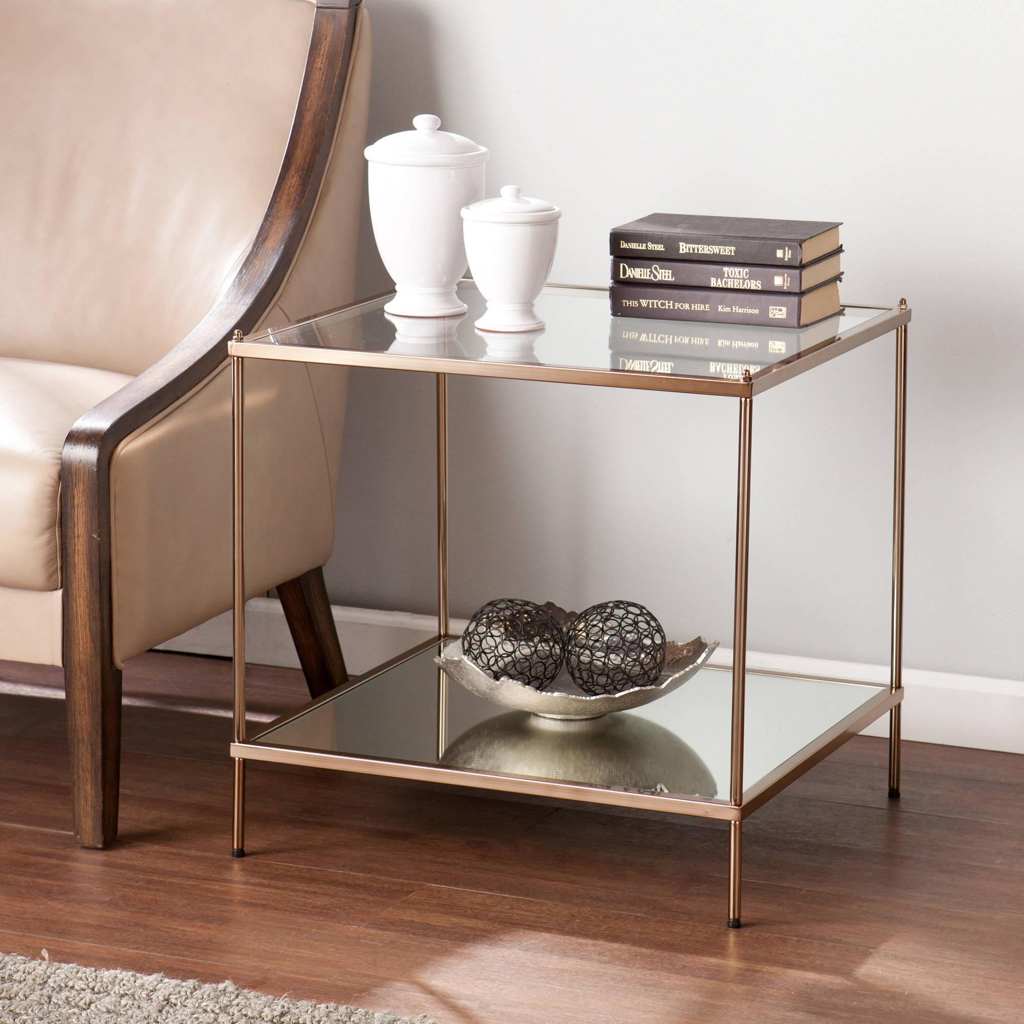 Southern Enterprises Kreamer Metal and Glass End Table, Metallic Gold