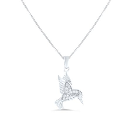Sterling Silver Cz Hummingbird Necklace 18