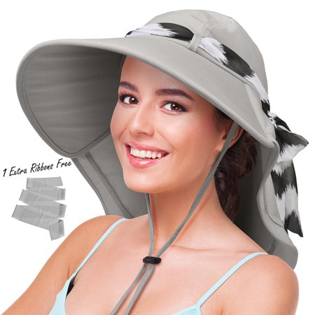 Flap Happy Cotton Flap Hat - Sun Hats for Women with Neck Flap Large Brim UV Protection Foldable Fishing Hiking Beach Cap by Solaris