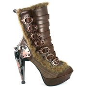 Hades Shoes H-Polaro Tweed Fabric mid-calf high boot with 7 flame metal buckles 8 / Bown