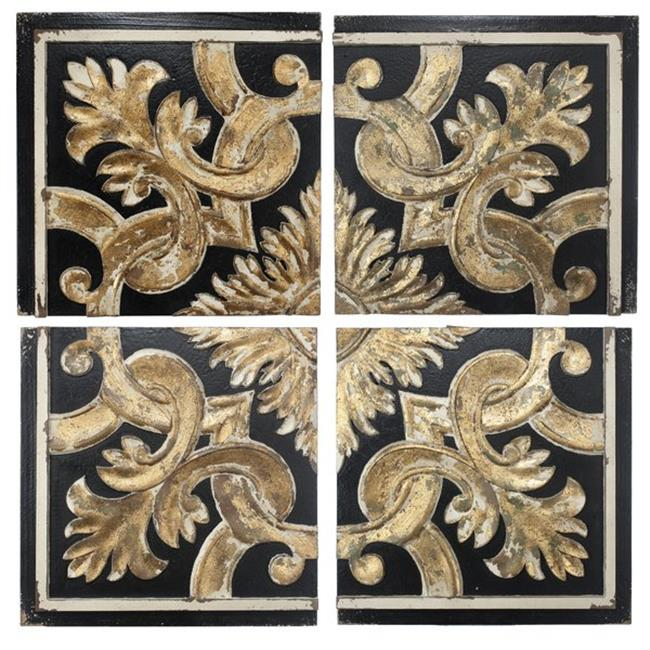 A&B Home AV40129 35. 5 x 2 x 35. 5 inch Rustic Couture Wall Panels, Black - Set of 4