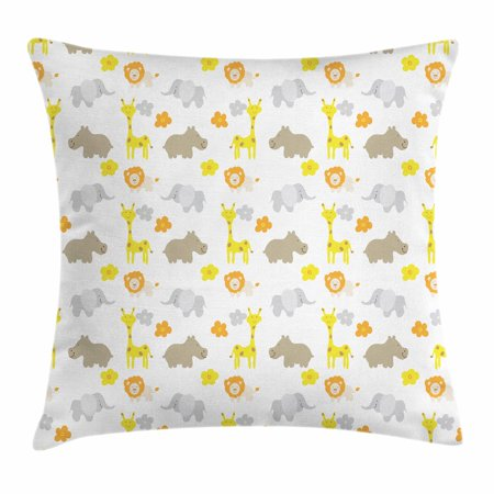 Nursery Throw Pillow Cushion Cover, Baby Jungle Animals Elephants Lions Giraffes Hippopotamuses Nature Inspired Design, Decorative Square Accent Pillow Case, 18 X 18 Inches, Multicolor, by Ambesonne ()