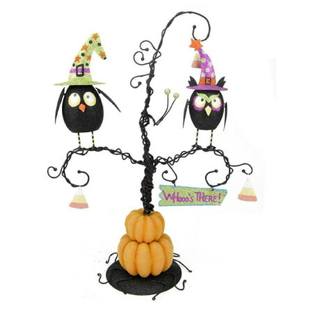 Whooo's There Owls Perched on a Spooky Pumpkin Tree Halloween Table Top Decoration 16.5