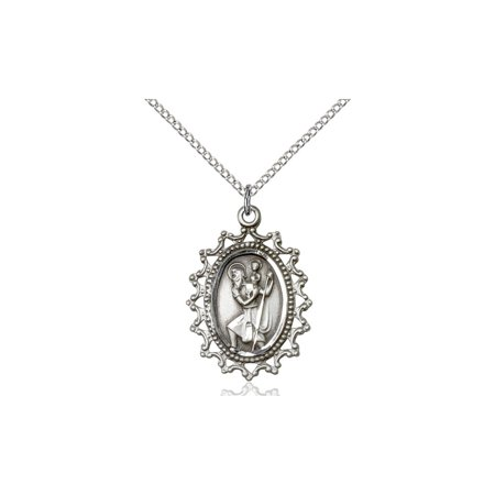 Large Detailed Mens Solid 925 Sterling Silver Saint St  Christopher 1 X 3 4  Patron Of Travelers Motorists Medal Pendant On A 18 Sterling Silver Curb Chain Necklace Gift Boxed