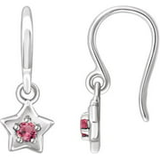 Sterling Silver 3 Mm Round October Youth Star Birthstone Earrings Gemstone Fashion Finished (Pair)