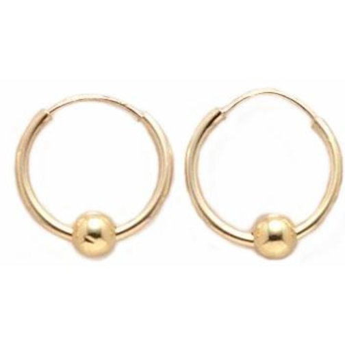 14K Gold Ball Hoop Earrings 15mm Walmart