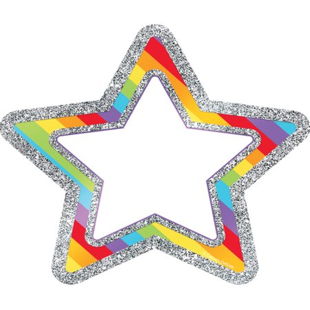 Decorative Sparkle and Shine Rainbow Glitter Stars Cut-Outs Rainbow Star Sparkle