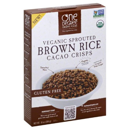 One degree organic foods veganic sprouted brown rice cacao crisps cereal, 10 oz, (pack of 6) Crispy Brown Rice Cereal