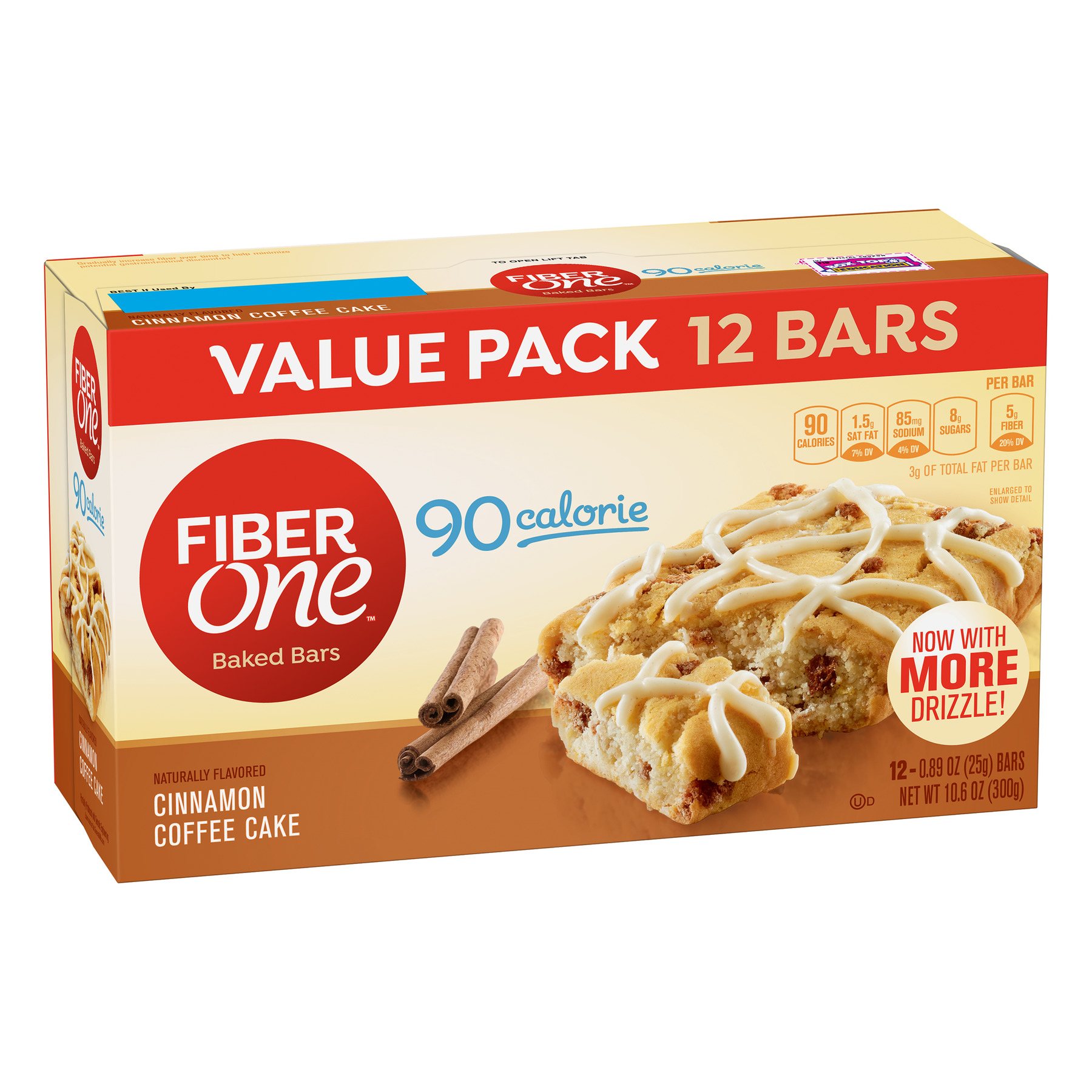 Fiber One 90 Calorie Soft-Baked Bar, Cinnamon Coffee Cake, 12 Fiber Bars, 10.6 oz (Value Pack)
