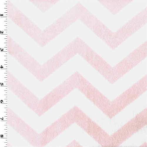Pink/White Chevron Stripe Minky, Fabric By the Yard