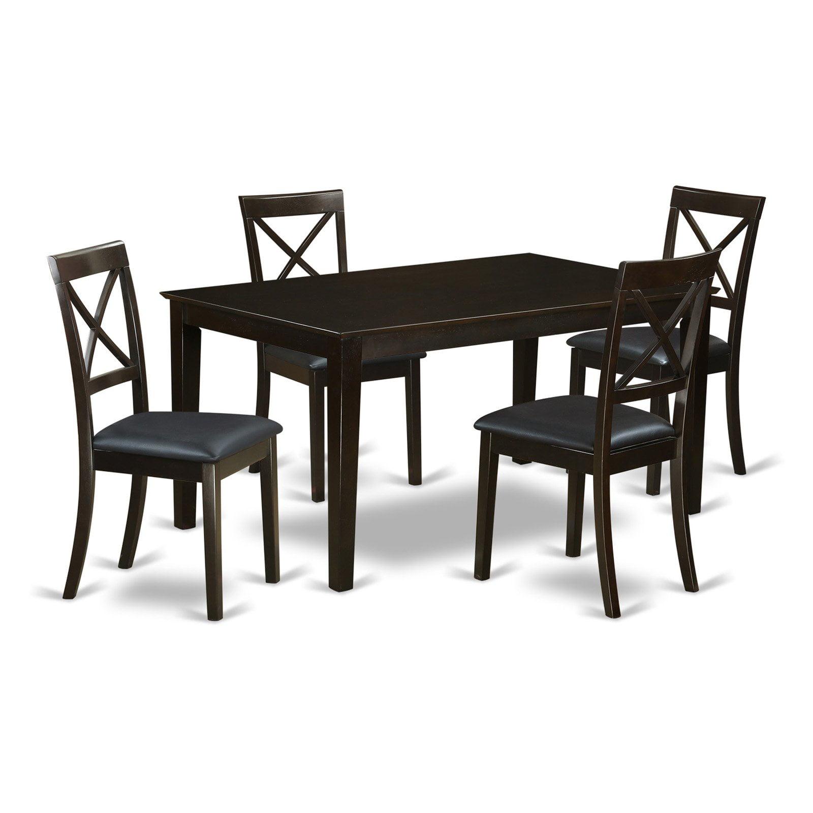 East West Furniture Capri 5 Piece Crossback Dining Table Set