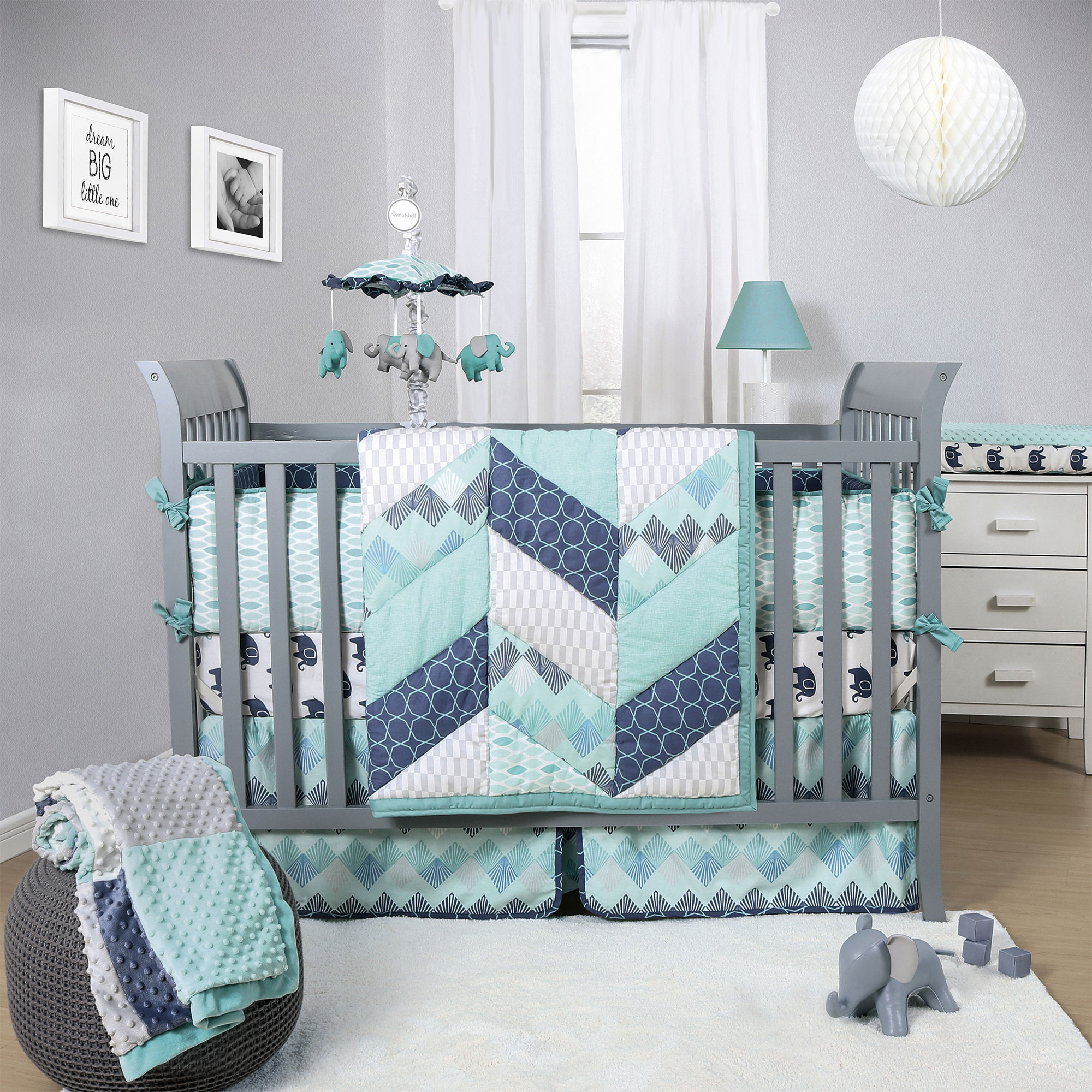 The Peanut Shell Mosaic Crib Bedding Set - Geometric Prints in Teal, Gray, and Blue - 3 Piece Baby Nursery Bedding Collection