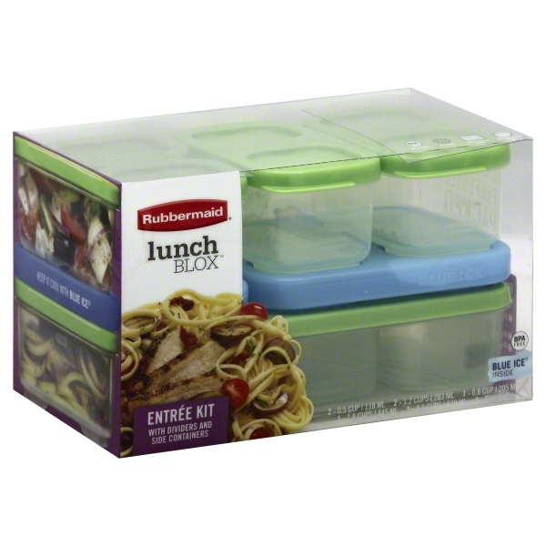 Rubbermaid LunchBlox 7-Piece Modular Entree Food Containers with Blue Ice Snap-Ins