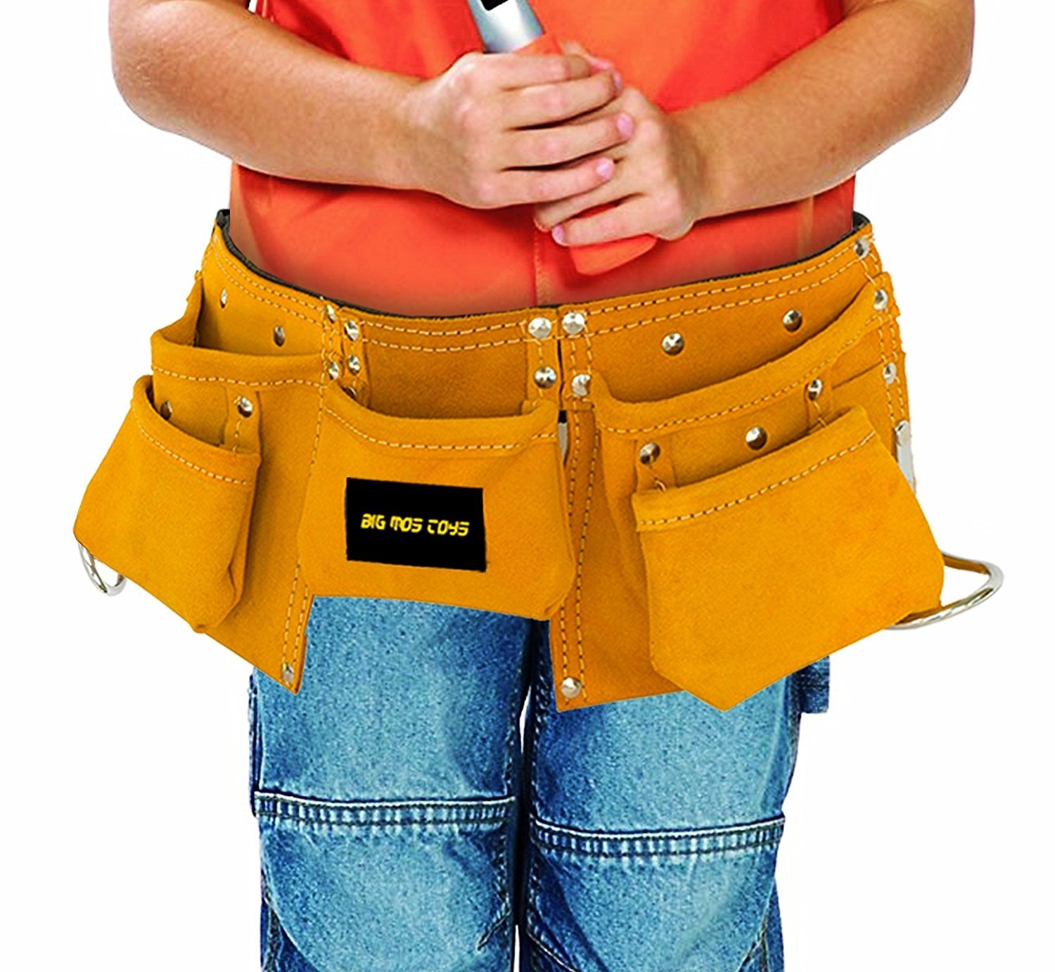 Kids Brown Faux Suede Pretend Play Belt for Tools with Adjustable Strap Big Mos Toys Tool Belt