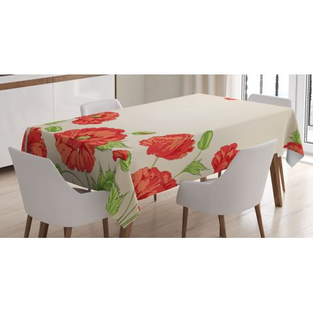 Floral Decor Tablecloth, Illustration of a Card with Poppy Flowers Decorations for Home Pattern, Rectangular Table Cover for Dining Room Kitchen, 60 X 90 Inches, Red and Beige, by Ambesonne for $<!---->